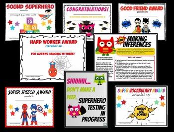 Super Hero Decor for your Speech Room! {posters, certificates & diplomas!}