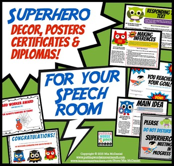 Super Hero Decor for your Speech Room! {posters, certifica