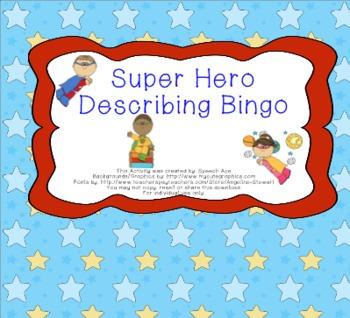 Super Hero Describing Bingo
