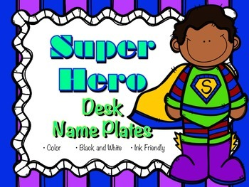 Super Hero Desk Name Plates Elementary (Name Tags)