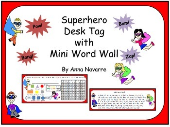 Superhero Desk Tag with Mini Word Wall