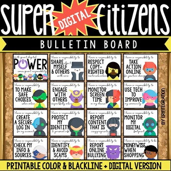 Digital Citizenship Posters & Bulletin Board Set: Super Hero Theme