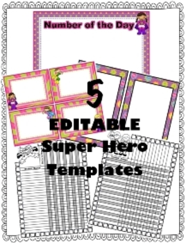 Super Hero EDITABLE Templates