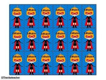 Super Hero Editable Brag Tags - 9 Designs