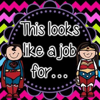 Super Hero Editable Job Cards *Bright Chevron On Black*