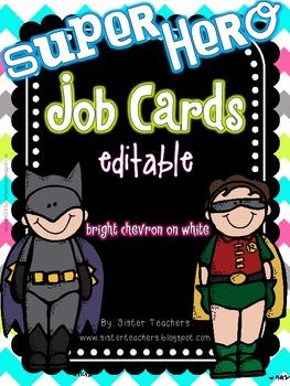 Super Hero Editable Job Cards *Bright Chevron On White*