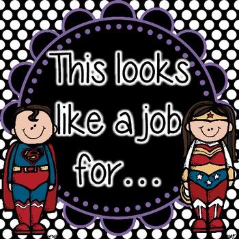 Super Hero Editable Job Cards *Polka Dots*
