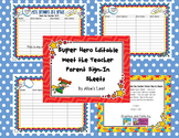 Super Hero Editable Meet the Teacher Parent Sign-In Sheet