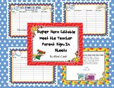 Super Hero Editable Meet the Teacher Parent Sign-In Sheet