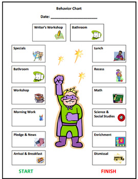 Super Hero Elementary Behavior Chart