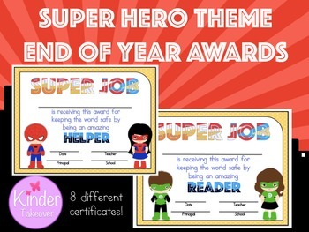 Super Hero End of Year Awards