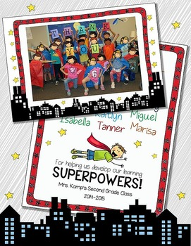 Superhero End of Year Editable Class Thank You Card
