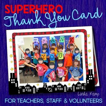 End of Year Class Thank You Card-Editable Superhero Theme