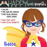 Super Hero Kids  / Female / Girl / Clipart  – Happy Heart Graphics