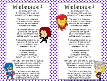 Super Hero First Day Goodie Bags & Bookmarks