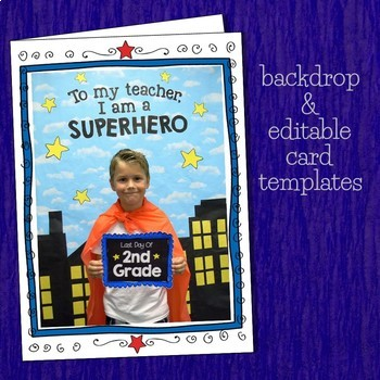First & Last Day of School Superhero Photo Booth & Editable Keepsake Cards