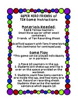 Super Hero Friends of Ten Game