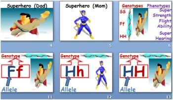 Super Hero Genetics Visuals for Super Hero Genetics Worksheet