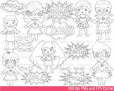 Super Hero Girls Clip Art SCHOOL outline stamp coloring page line Print -094-