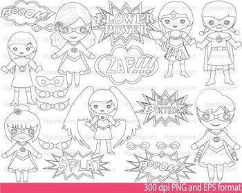 Super Hero Girls Clip Art SCHOOL outline stamp coloring page line Print -094-