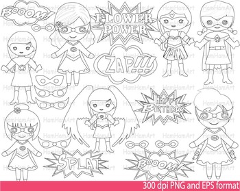 Super Hero Girls Clip Art SCHOOL outline stamp coloring pa