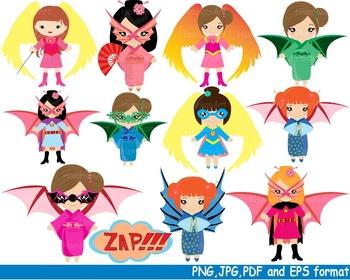 Super Hero Girls Clip Art school halloween decor comic book birthday Power -124-