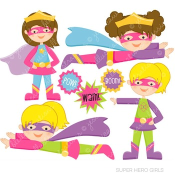 Super Hero Girls Cute Digital Clipart, Super Hero Clip Art