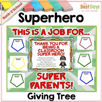 "Super Hero ""Giving Tree""/ Wish List Donations (Other Themes Available Inside)"