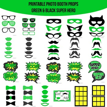 Super Hero Green Printable Photo Booth Prop Set