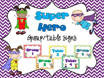 Superhero Group/Table Signs