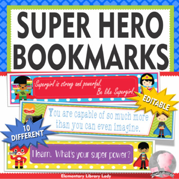 Super Hero Decor EDITABLE Growth Mindset Bookmarks or Name Plates