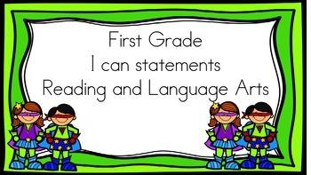 Super Hero I Can Statements 1st Grade