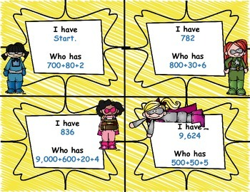 Super Hero I have Who Has Game Place Value Standard and Expanded Form