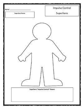 Super Hero: Impulse Control worksheet