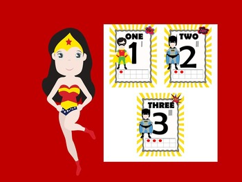 """""""Super Hero"""" Inspired Number Posters"""