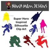 Super Hero Inspired Silhouette Clip Art in Color or Black