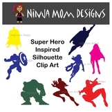 Super Hero Inspired Silhouette Clip Art in Color or Black