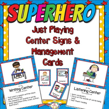 Super Hero–Just Playing Center Signs and Editable Management Cards