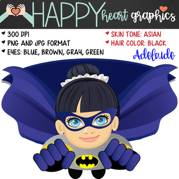 Super Hero Kids / Bat Girl /  Female / Girl / Clipart  – Happy Heart Graphics