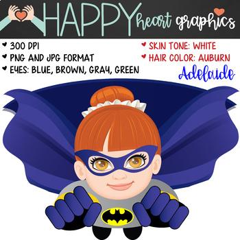 Super Hero Kids / Bat Girl /  Female / Girl / Clipart  – Happy Heart Graphics