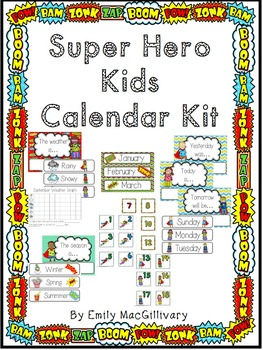 Super Hero Kids Calendar Kit