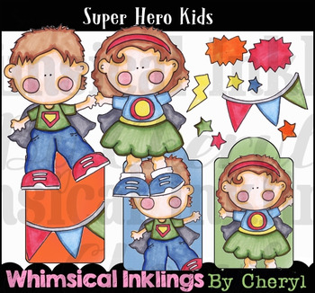 Super Hero Kids Clipart Colletion
