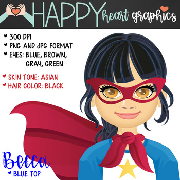Super Hero Kids  / Female / Girl / Clipart  – Happy Heart Graphics