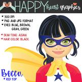 Super Hero Kids  / Female / Girl / Clipart  – Happy Heart