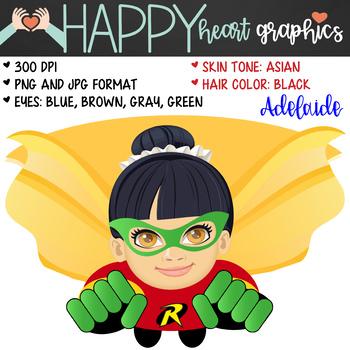 Super Hero Kids / Girl Robin /  Female / Girl / Clipart  – Happy Heart Graphics