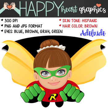 Super Hero Kids / Girl Robin /  Female / Girl / Clipart  – Happy Heart Graphics