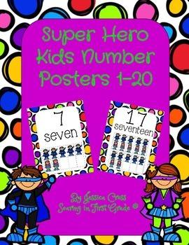Super Hero Kids Number Posters 1-20