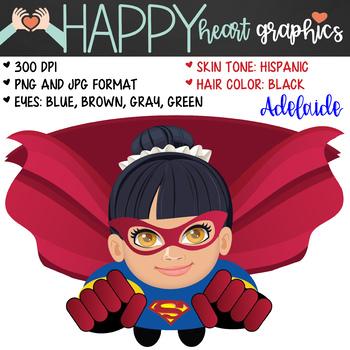 Super Hero Kids / Super Girl /  Female / Girl / Clipart  – Happy Heart Graphics
