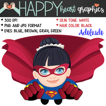 Super Hero Kids / Super Girl /  Female / Girl / Clipart  – Happy Heart Graphics