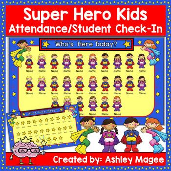 Super Hero Kids Themed SmartBoard Attendance/Check-In